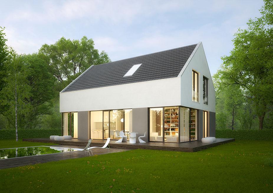 Modernes Satteldachhaus Bauwerk Leipzig